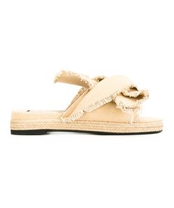 No21   Frayed Trim Sandals Womens Size 40 Leather/Cotton/Rubber