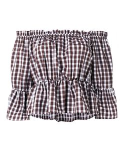 Dondup | Off Shoulder Checked Top Womens Size 42 Cotton