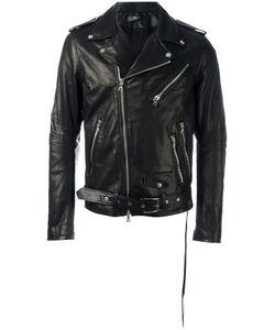 Amiri | Zipped Biker Jacket Mens Size Medium Leather/Tencel/Spandex/Elastane/Silk