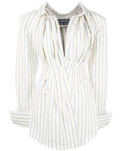 Jacquemus   Striped Shirt Dress Womens Size 40 Cotton/Linen/Flax
