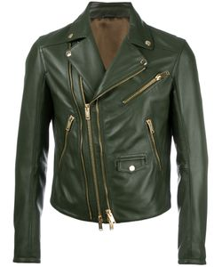 Les Hommes | Zip Up Jacket Mens Size 50 Leather/Acetate