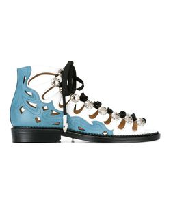 Toga | Embellished Lace-Up Sandals Womens Size 37.5 Leather/Metal