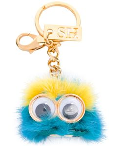 Sophie Hulme | Monster Head Keychain Womens Leather/Rabbit Fur/Brass