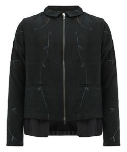 By Walid | Leaf Embroidery Zip Jacket Mens Size Large Silk