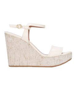 Bally | Buckled Wedge Sandals Womens Size 38 Leather/Rubber/Patent Leather/Cork