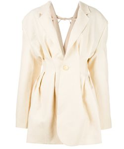 Jacquemus   V-Back Pleated Blazer Womens Size 38 Linen/Flax/Viscose/Cotton