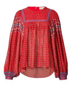 Ulla Johnson | Minou Folk Print Blouse Womens Size 2 Polyester/Silk