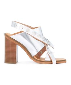 Mm6 Maison Margiela | Criss Cross Sandals Womens Size 38.5 Leather/Rubber/Metal