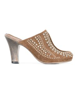 Calleen Cordero | Studded Mid-Heel Mules Womens Size 8 Suede/Leather/Metal Other