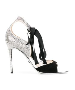 Rene Caovilla | René Caovilla Studded Trim Sandals Womens Size 36.5 Suede/Pvc/Cotton/Rubber