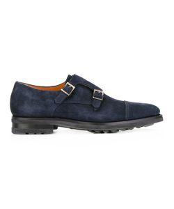 Santoni | Monk Shoes Mens Size 8.5 Suede/Rubber/Leather