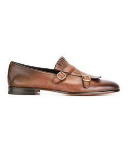 Santoni | Buckled Fringe Detail Loafers Mens Size 10 Calf Leather/Leather
