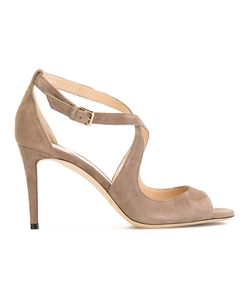 Jimmy Choo | Emily 85 Sandals Womens Size 37.5 Suede/Leather