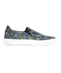 Les Hommes | Camouflage Print Slip-On Sneakers Mens Size 43 Leather/Rubber