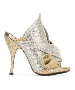 No21   Glittery Mules Womens Size 36 Calf Leather/Nylon/Leather