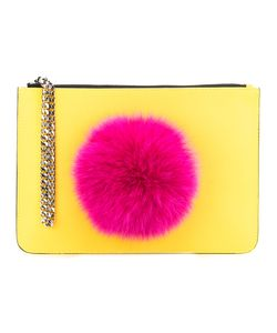 Les Petits Joueurs | Pompom Clutch Womens Nappa Leather/Rabbit Fur