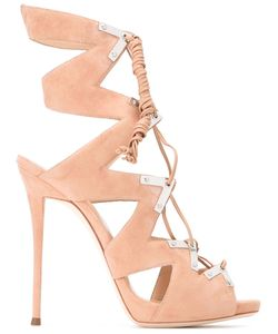 Giuseppe Zanotti Design   Lace-Up Sandals Womens Size 38 Suede/Leather