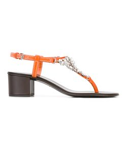 Giuseppe Zanotti Design | Crystal Embellished Sandals Womens Size 39.5 Leather/Stone