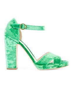 Rupert Sanderson   Savanna Crush Sandals Womens Size 37 Velvet/Leather/Viscose