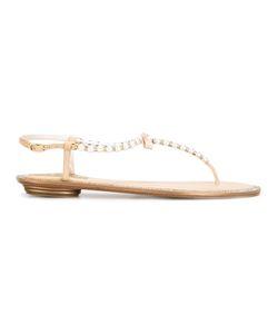 Rene Caovilla | René Caovilla Pearled T-Bar Sandals Womens Size 37 Calf Leather/Leather