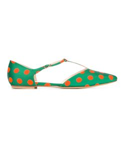 LENORA | Polka Dots T-Strap Ballerinas Womens Size 38.5 Silk/Leather