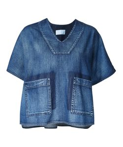Demoo Parkchoonmoo | Boxy Denim Blouse Womens Size 38 Cotton
