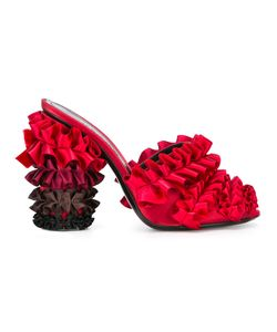 Marco de Vincenzo | Ruffled Mules Womens Size 36 Silk Satin/Leather