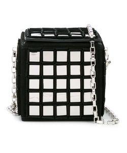 Tomasini | Mirror Embellished Rubix Cube Bag Suede/Metal/Glass
