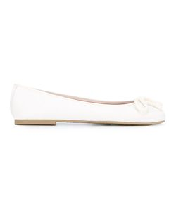 Pretty Ballerinas | Bow Detail Ballerinas Womens Size 41 Leather/Polyamide/Rubber
