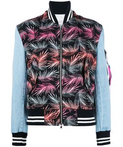 Forte Forte | Palm-Print Bomber Jacket Womens Size 40 Bamboo/Cotton/Polyester