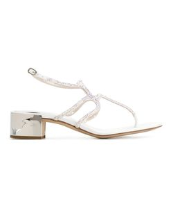 Rene Caovilla | René Caovilla Crystal Embellished Sandals Womens Size 37.5 Crystal/Metal/Leather/Leather