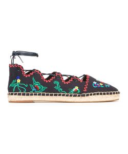 Tory Burch | Embroide Figures Espadrilles Womens Size 7.5 Cotton/Leather/Rubber