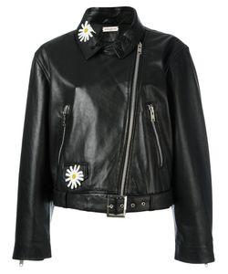 Natasha Zinko   Daisy Embellished Biker Jacket Womens Size 38 Leather/Polyester