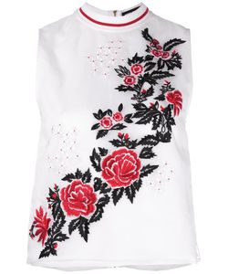 House Of Holland | Rose Embroidery Tank Womens Size 12 Silk/Polyester/Viscose