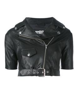 Jeremy Scott | Shortsleeved Cropped Biker Jacket Womens Size 40 Sheep