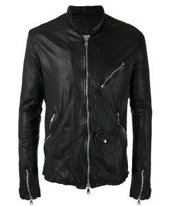 Giorgio Brato   Zip Up Jacket Mens Size 54 Leather/Nylon/Linen/Flax/Cotton