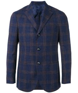 Barba | Checked Blazer Mens Size 50 Wool/Silk/Linen/Flax