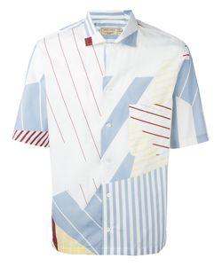 Maison Kitsuné   Multiple Stripes Shortsleeved Shirt Mens Size 42 Cotton