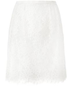 Ermanno Scervino | Lace Pleat Skirt Womens Size 42 Cotton/Polyamide/Polyester/Silk
