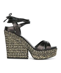 Sergio Rossi | Bilbao Sandals Womens Size 39 Leather/Rubber/Raffia