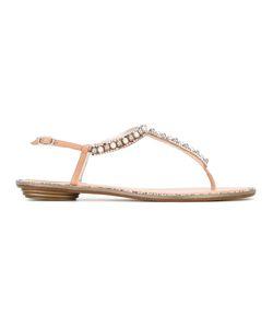 Rene Caovilla | René Caovilla Crystal Strap Sandals Womens Size 41 Leather/Satin