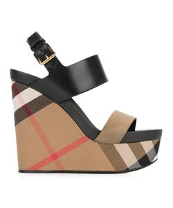 Burberry | Checked Wedge Sandals Womens Size 37.5 Leather/Suede/Cotton/Leather