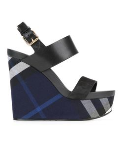 Burberry | Checked Wedge Sandals Womens Size 37.5 Leather