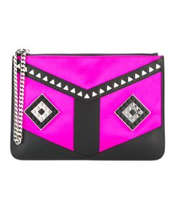 Les Petits Joueurs | Stud Embellished Clutch Bag Womens Leather/Satin/Metal