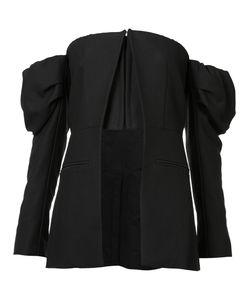 Vera Wang | Off Shoulder Cut-Away Jacket Womens Size 2 Cotton/Cupro/Nylon/Wool