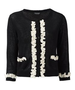 Twin-Set | Frill Detail Cardigan Womens Size Xxl Linen/Flax/Cotton