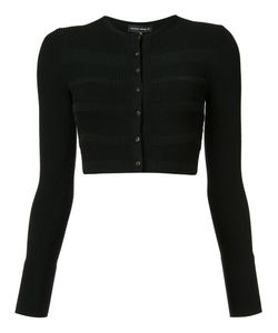 Narciso Rodriguez | Cropped Striped Accent Cardigan Womens Size 40 Viscose/Polyester/Wool/Spandex/Elastane