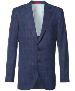 Isaia | Checked Blazer Mens Size 46 Cupro/Wool/Silk/Linen/Flax