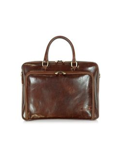 Chiarugi | Double Handle Leather Zip Briefcase