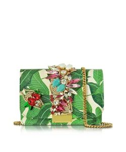 Gedebe   Clicky Snake Leather Leaves Clutch